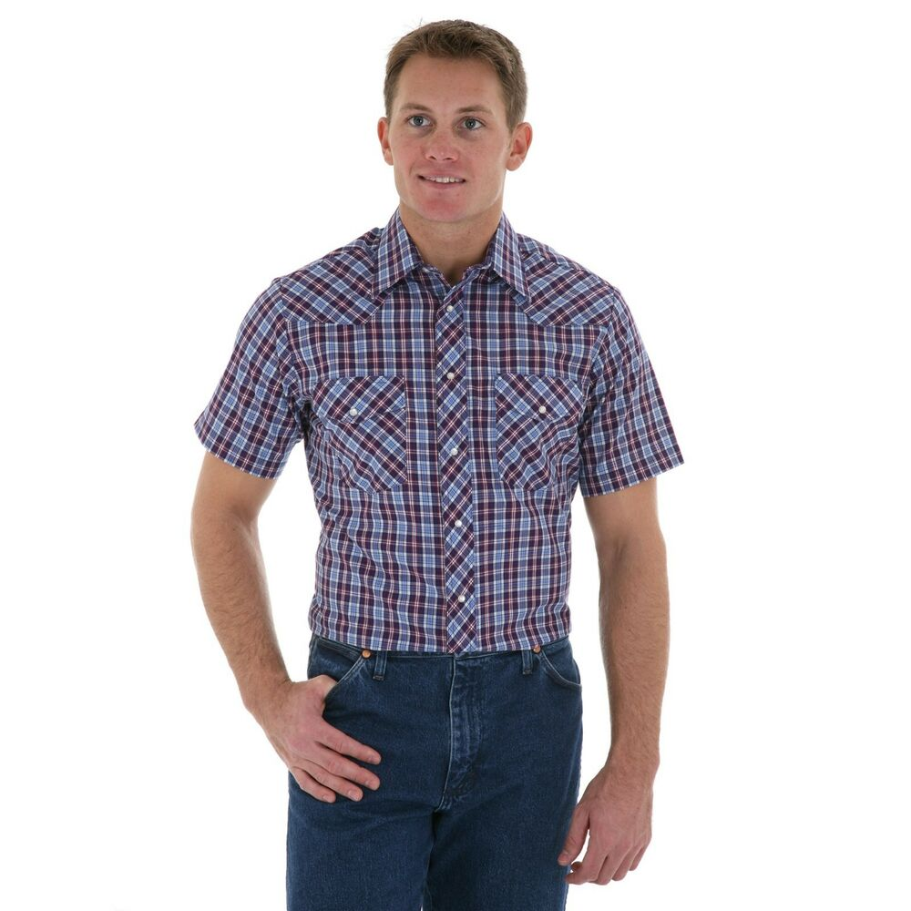 Wrangler western shirt short sleeves wrangler shirt Short sleeve plaid shirts