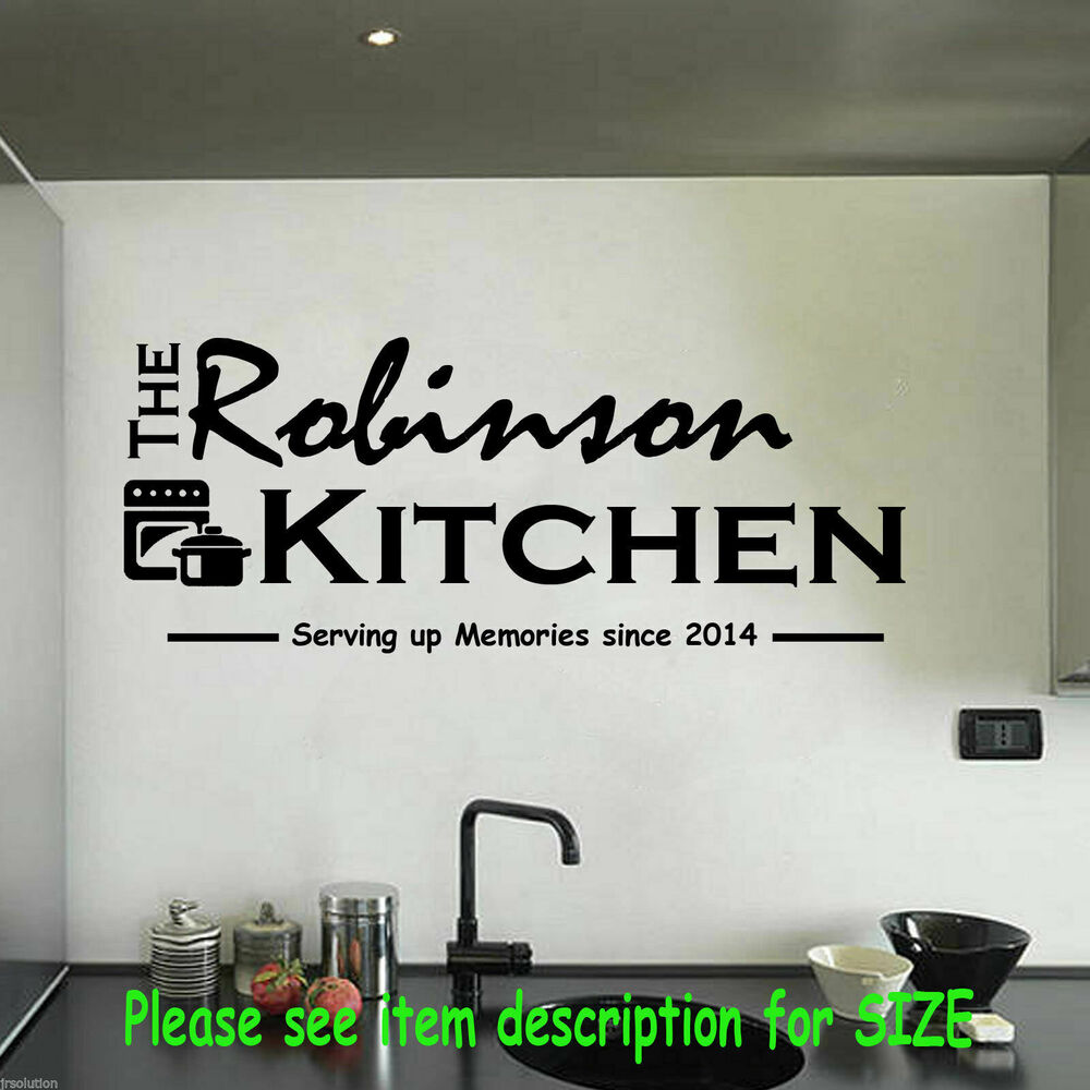 Personalised family kitchen wall art quote wall sticker for Kitchen quote decals