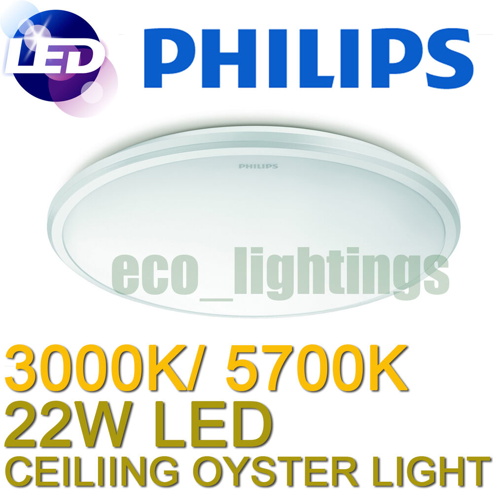 Philips Led Oyster Ceiling Light Fitting 22w Slimline Replace Circular Fluoro Ebay