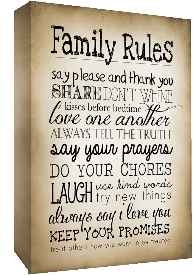 Sepia Family Rules Quote Canvas Wall Art Picture Print