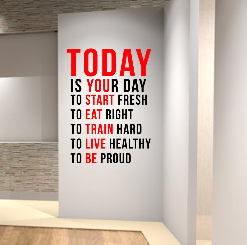 today is your day gym motivational wall decal quote crossfit fitness workout mma ebay. Black Bedroom Furniture Sets. Home Design Ideas