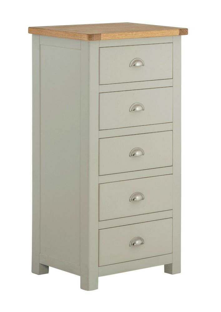 Padstow Painted Tallboy Chest Of Drawers Tall Bedroom Chest Solid Oak Top