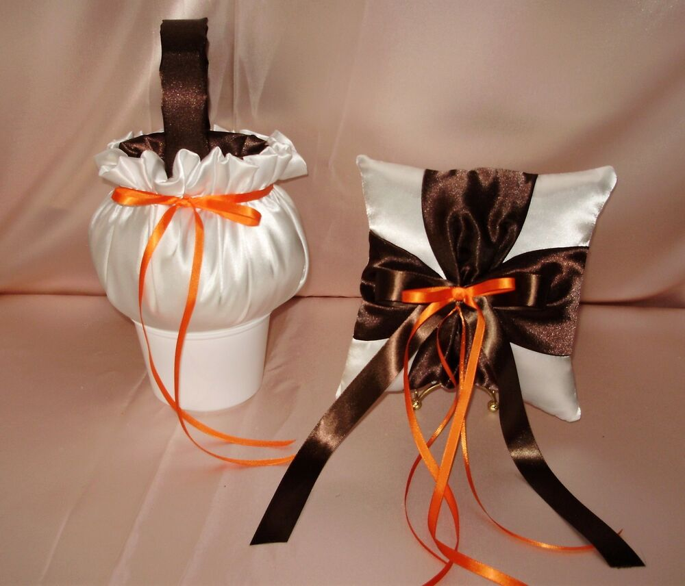 Flower Girl Baskets Fall : Flower girl basket and ring pillow in your colors