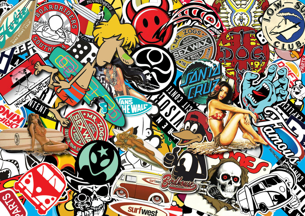 x2 surf sticker bombing sheets a4 sticker bomb decal vw. Black Bedroom Furniture Sets. Home Design Ideas
