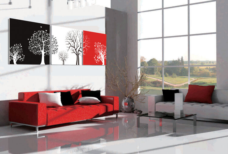 lw028 bild wandbild leinwand bilder kunstdruck baum b ume schwarz wei rot 3tlg ebay. Black Bedroom Furniture Sets. Home Design Ideas