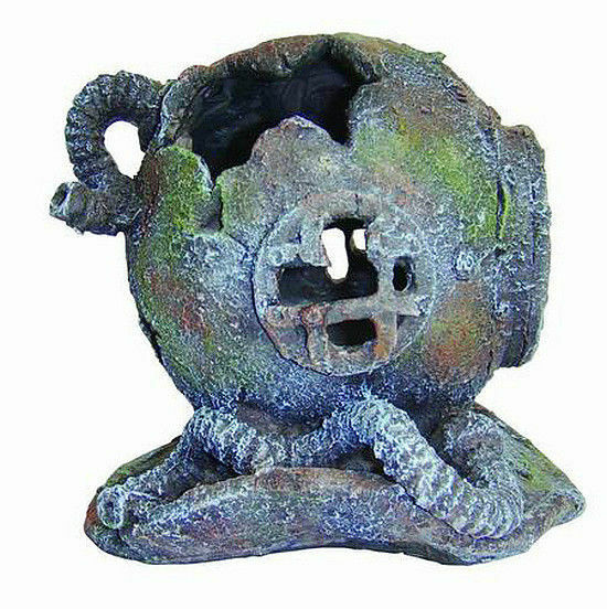Large deep sea divers helmet aquarium ornament fish tank for Large aquarium fish