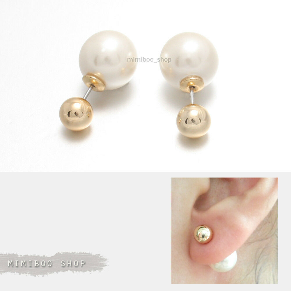 7mm front and 12mm pearl back stud earrings shiny