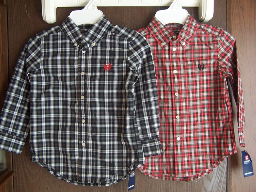 Nwt chaps by ralph lauren holiday red or gray black plaid for Red plaid dress shirt