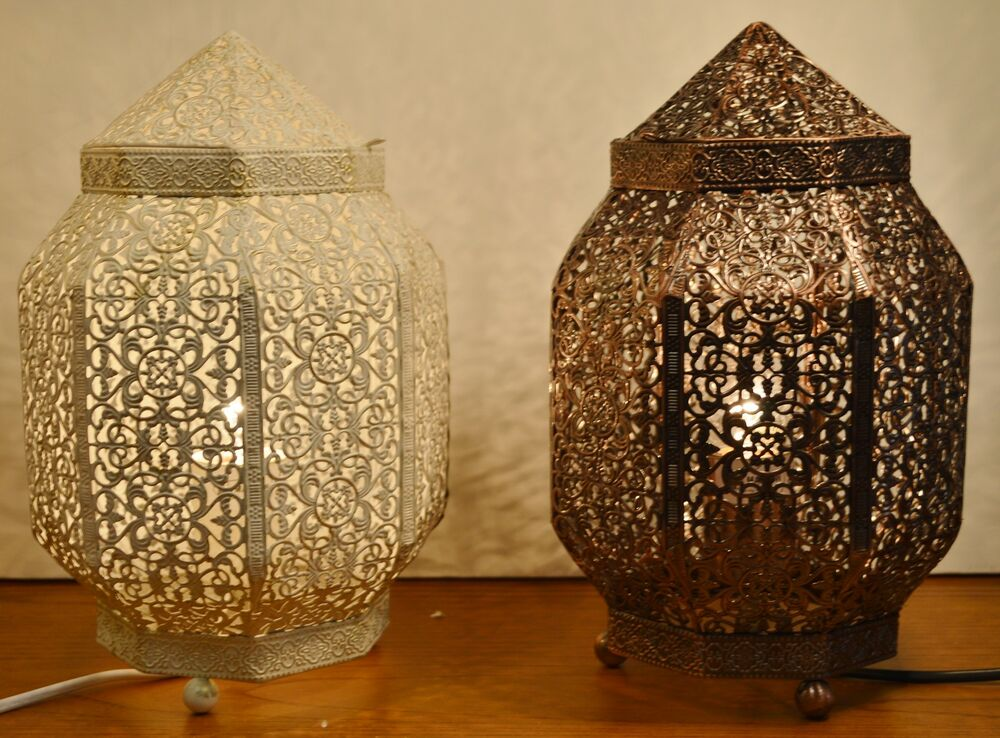 Moroccan Style Table Lamp Antique Bronze Or Cream Gold Ebay