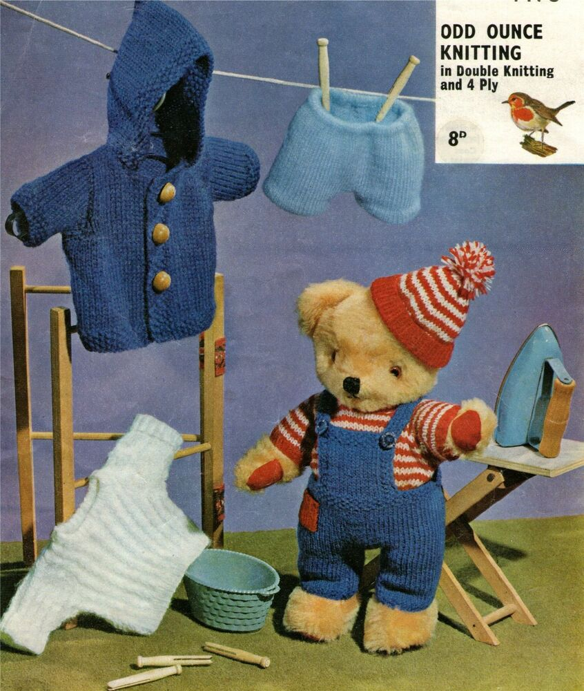 Knitting Pattern For Teddy Bear Jumper : Teddy Bear Clothes Knitting Pattern : Dungarees, Jacket ...