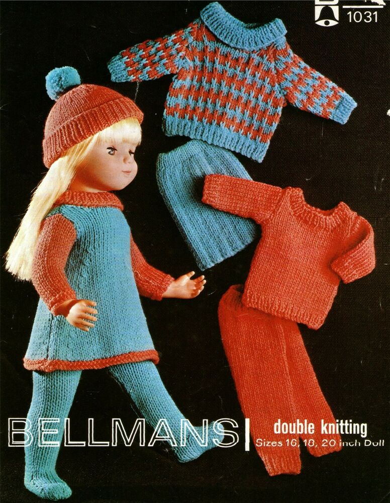 Dolls Clothes Knitting Pattern : 16, 18 & 20 inch Dolly | eBay