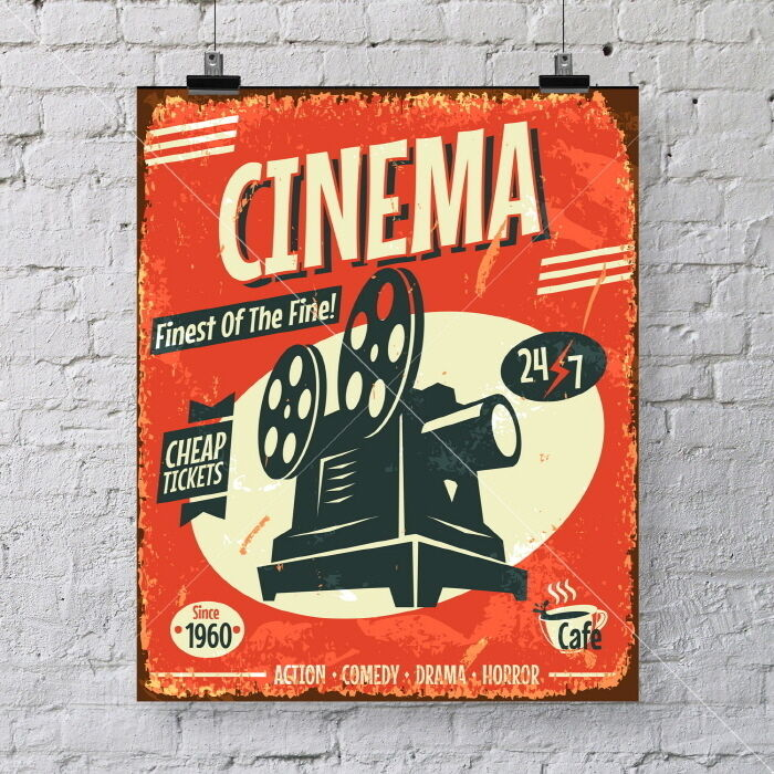 vintage cinema poster art print great wall decor for your home movie theater ebay. Black Bedroom Furniture Sets. Home Design Ideas