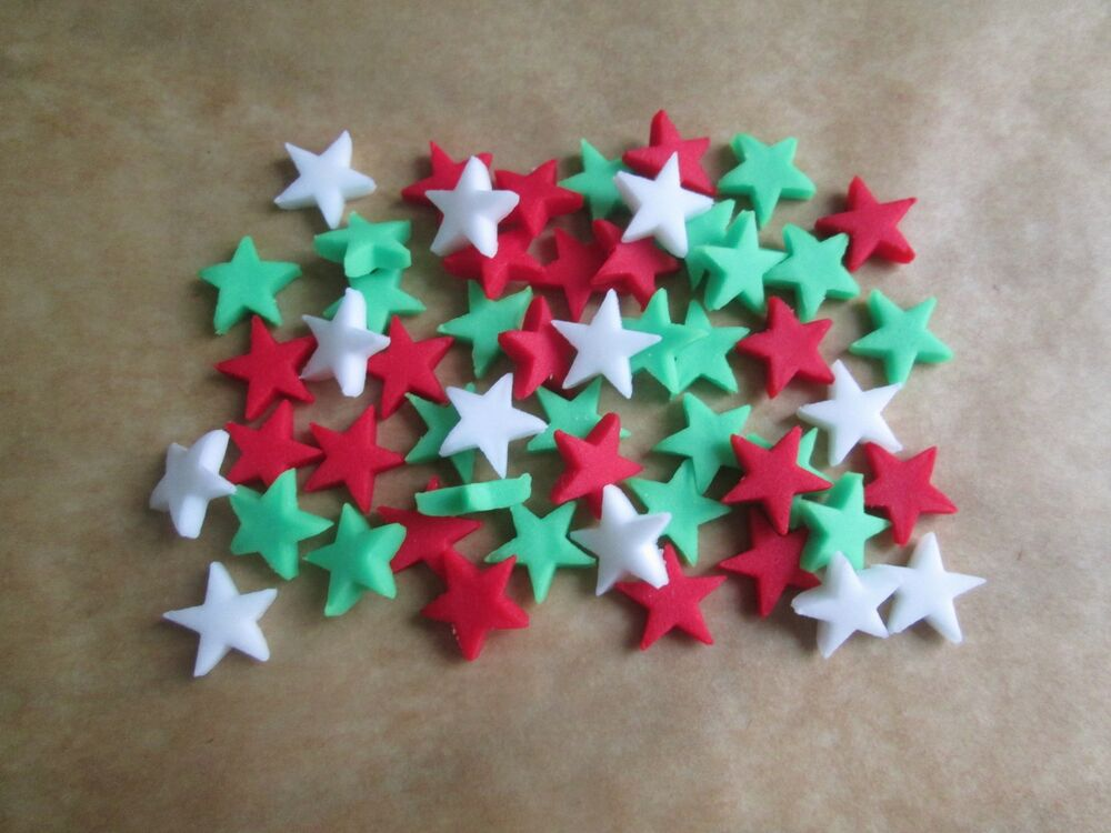 Sugar Cake Decorations For Christmas : 100 Edible Sugar paste CHRISTMAS MIX STARS Cupcake Cake ...