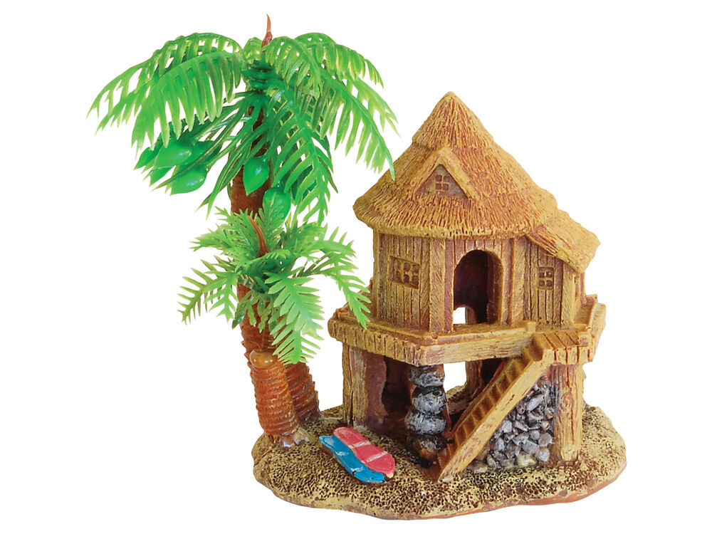 Beach House & Palm Tree Aquarium Ornament Fish Tank Decoration eBay