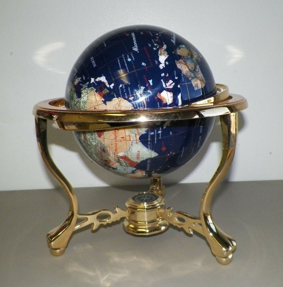 lapis brass gemstone globe with compass on bottom
