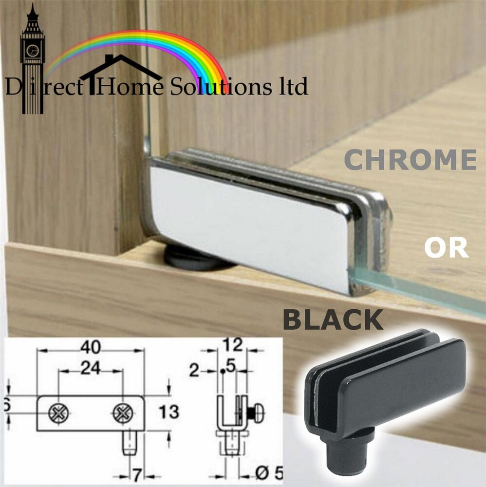 2 glass door pivot hinges 110 chrome or black 2 pair for Glass cabinet hinges