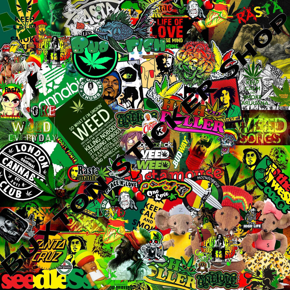 Details about huge rasta weed sticker bomb sheet euro vinyl decal vw vauxhall honda dub