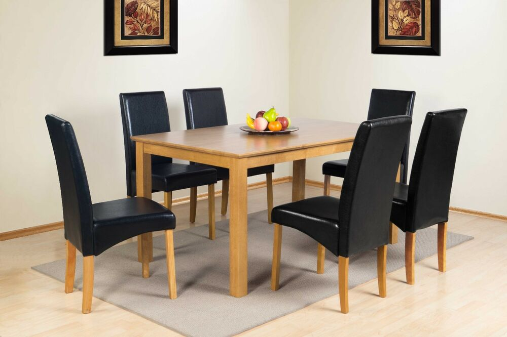 BUCKINGHAM SOLID WOOD DINING RANGE RECTANGULAR DINING TABLE FAUX LEATHER CHAI