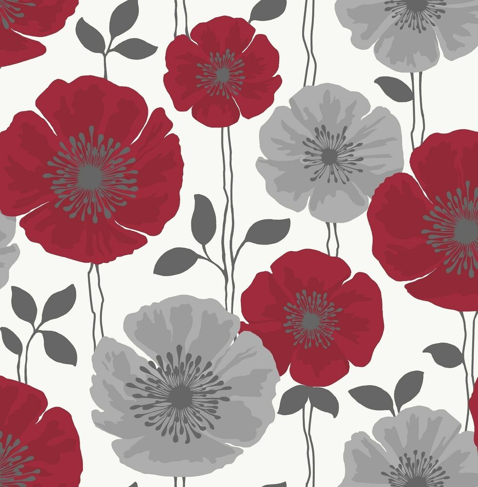 Red And White Patterned Wallpaper: Poppie Floral Wallpaper
