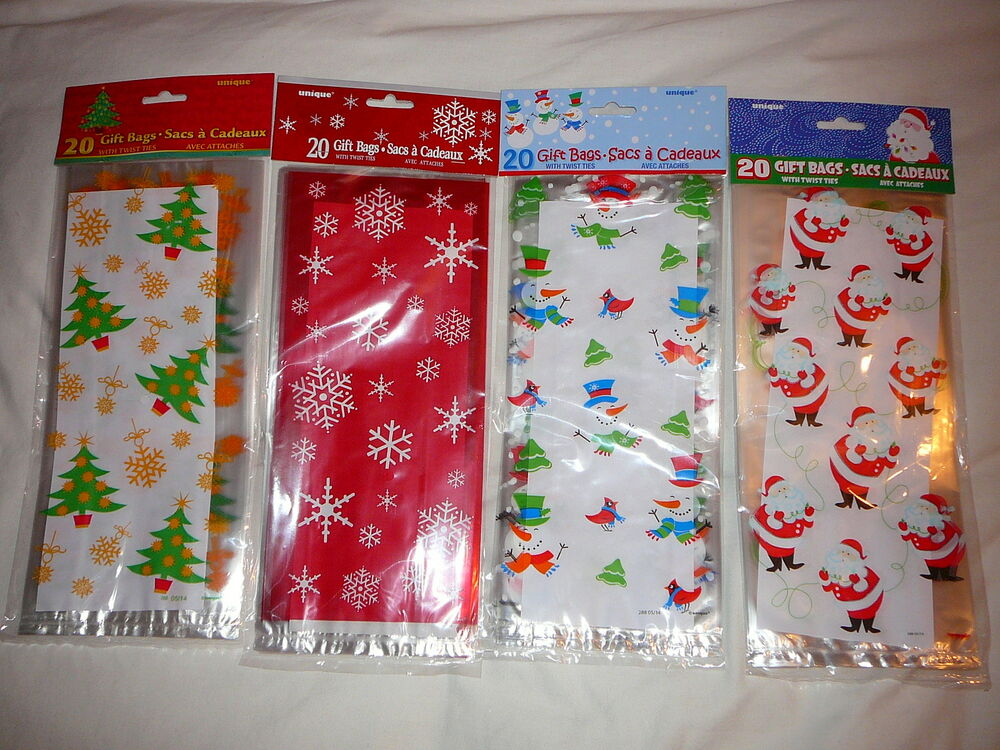 Pack of christmas cellophane gift bags sweets gifts