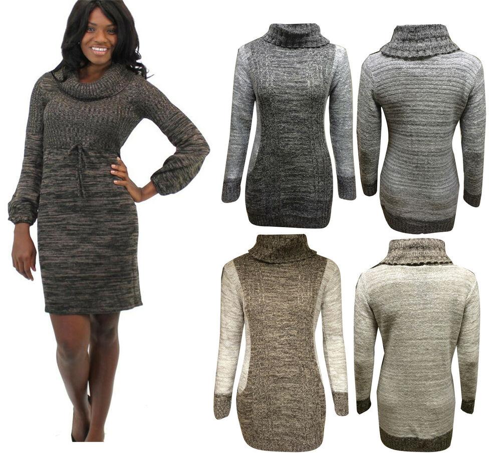 Womens Ladies Plus Size Cowl Neck Cable Knitted Pocket Tunic Dress Jumper 8-1...