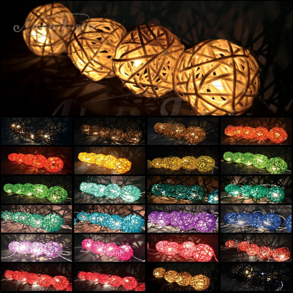 Aladin Rattan Wicker Balls Plug or Battery Operated LED String Lights Fairy US eBay