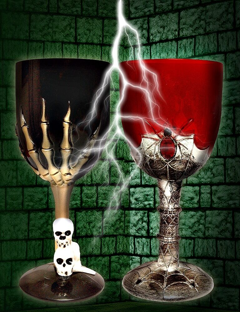 Ghostly Goblets Skull Spider Dripping Blood Gothic Wine