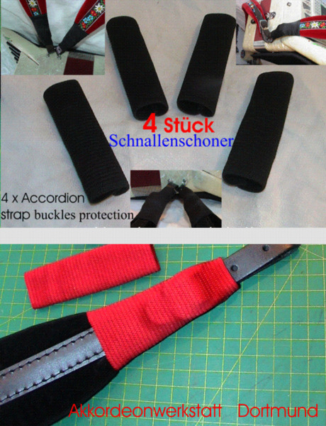 4 x Schnallenschutz für Akkordeon- Gurte, 4 x accordion strap buckles protection
