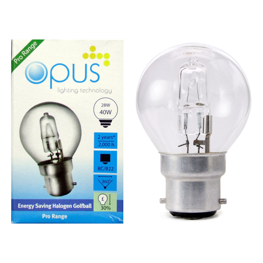 opus eco halogen energy saving golf ball light bulbs 28w 40w e14 b22 e27 b15 cap ebay. Black Bedroom Furniture Sets. Home Design Ideas