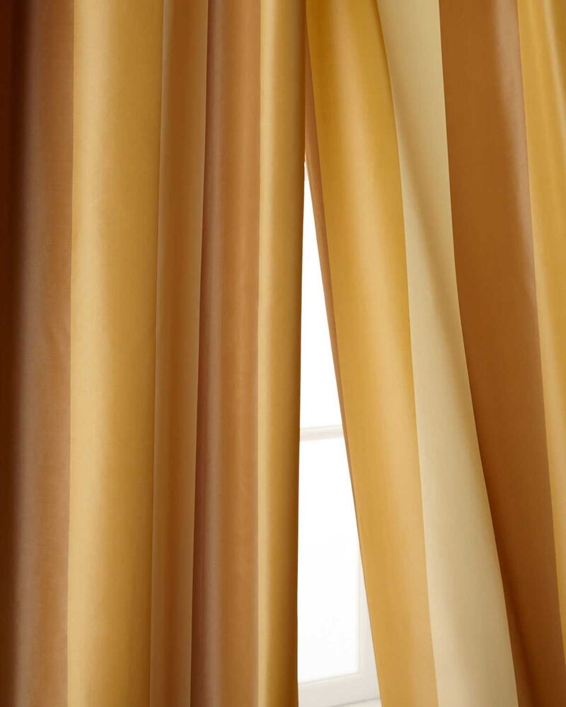 Ivory Beige Amp Gold Tone 100 Silk Taffeta Lined Curtains