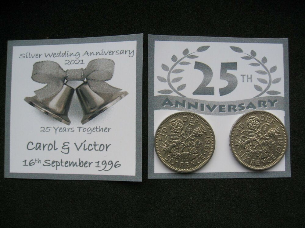 Silver Wedding Gift Ideas Uk : ... Sixpence Coins for 25th Silver Wedding Anniversary Card or Gift eBay