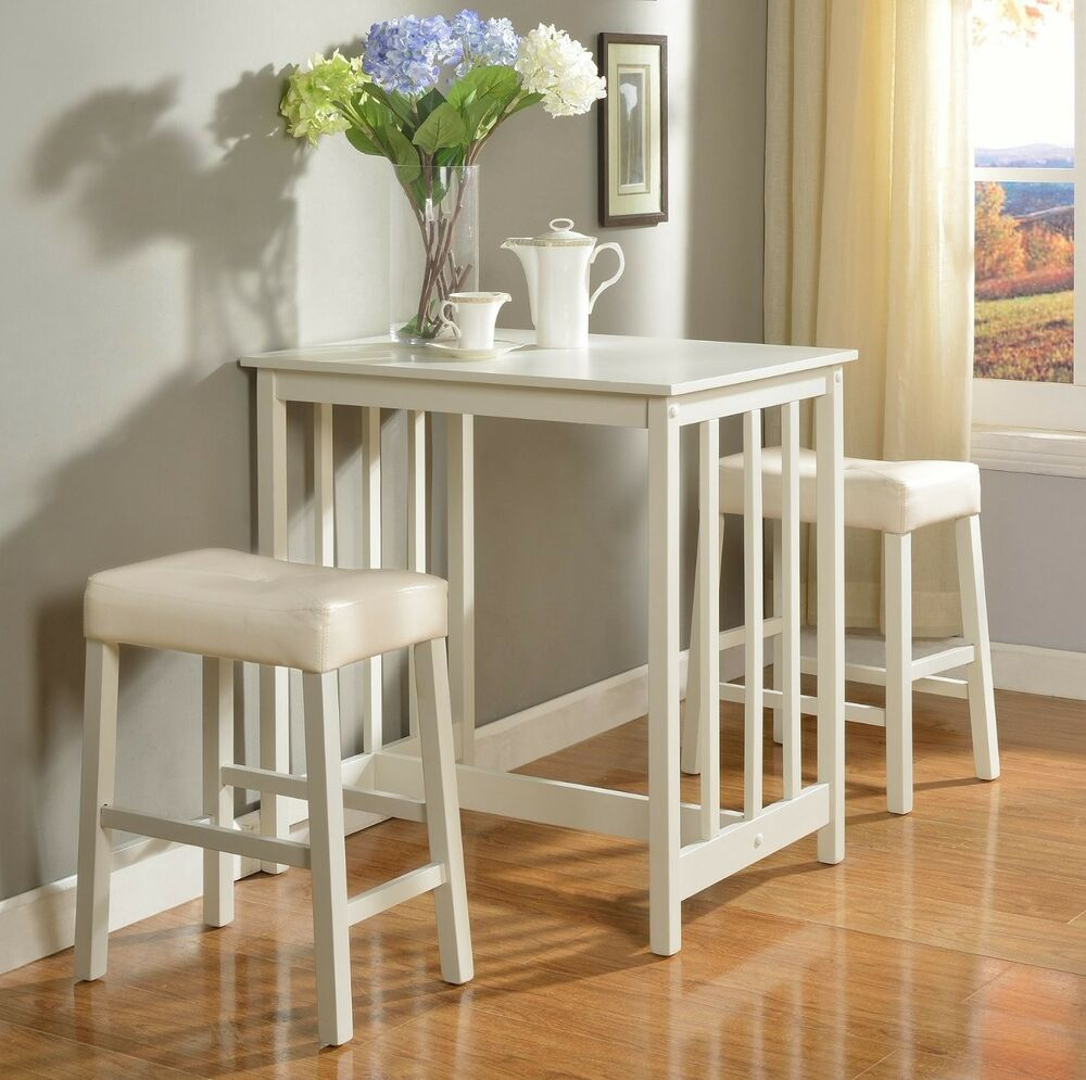 3 Piece Dining Set Bar Stools Pub Table Breakfast Chairs: White Counter Height Dining Table Set Of 3 Piece Bar Pub