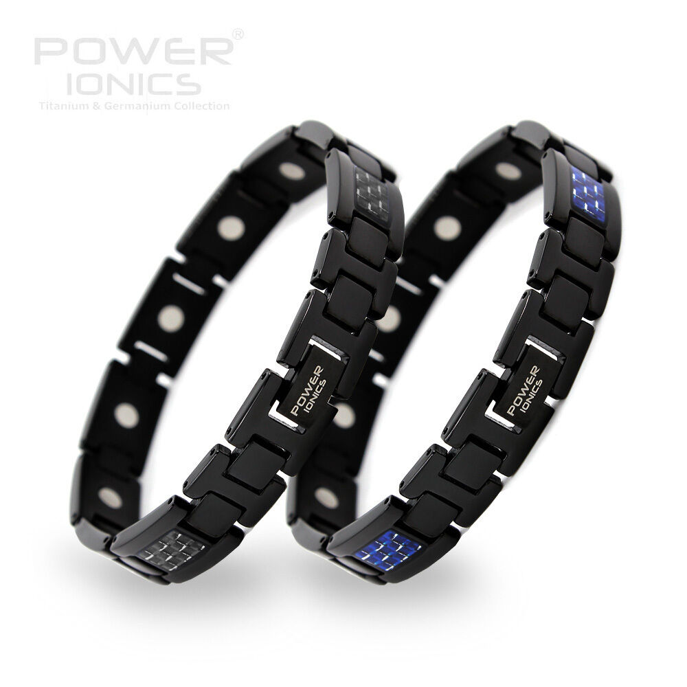 100 titanium magnetic black blue carbon fiber bracelet band ebay