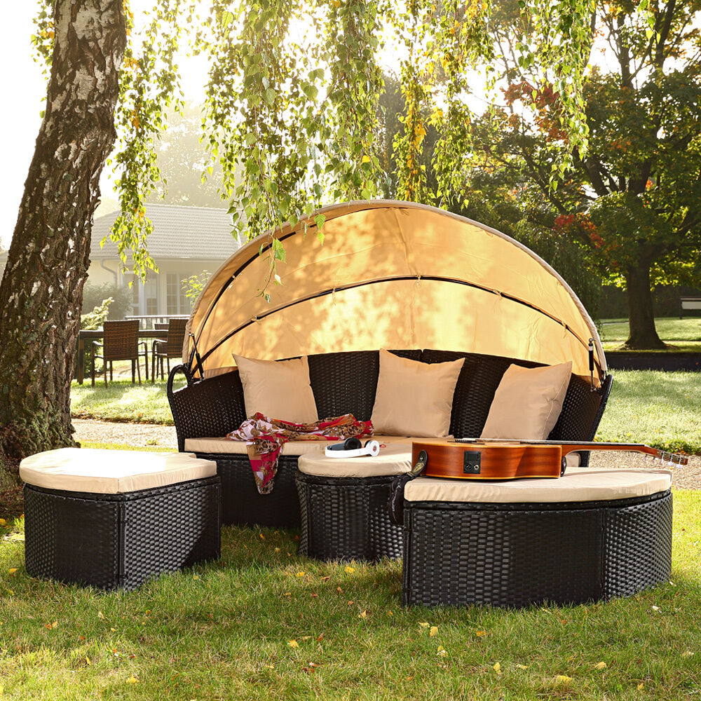 sonneninsel mit tisch rattan sonneninsel polyrattan muschel sonnenliege neu ebay. Black Bedroom Furniture Sets. Home Design Ideas