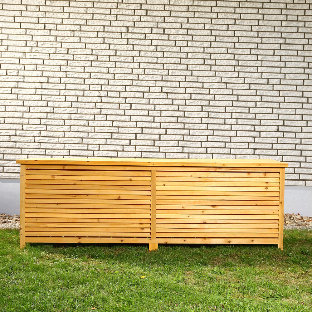 xxl holz bank auflagenbox kissenbox gartenbox gartentruhe holztruhe m01 ebay. Black Bedroom Furniture Sets. Home Design Ideas