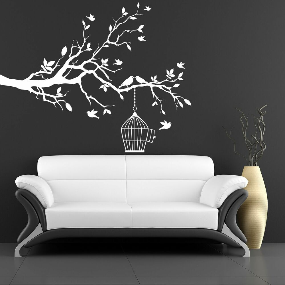 xxl baum mit v gel und k fig 146x115cm wandtattoo. Black Bedroom Furniture Sets. Home Design Ideas