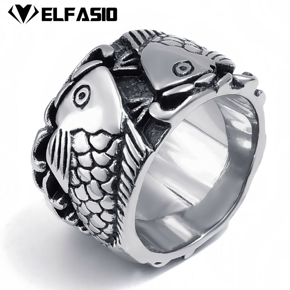 Men 39 S Double Fish Lover 316l Stainless Steel Band Ring