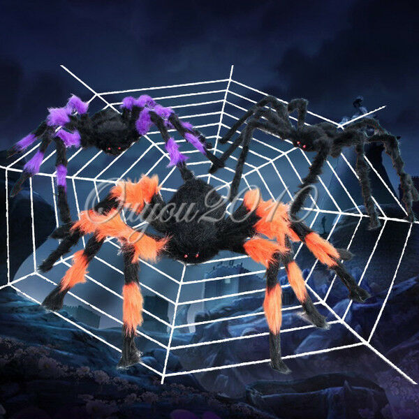halloween big hairy spider web indoor outdoor bar prop
