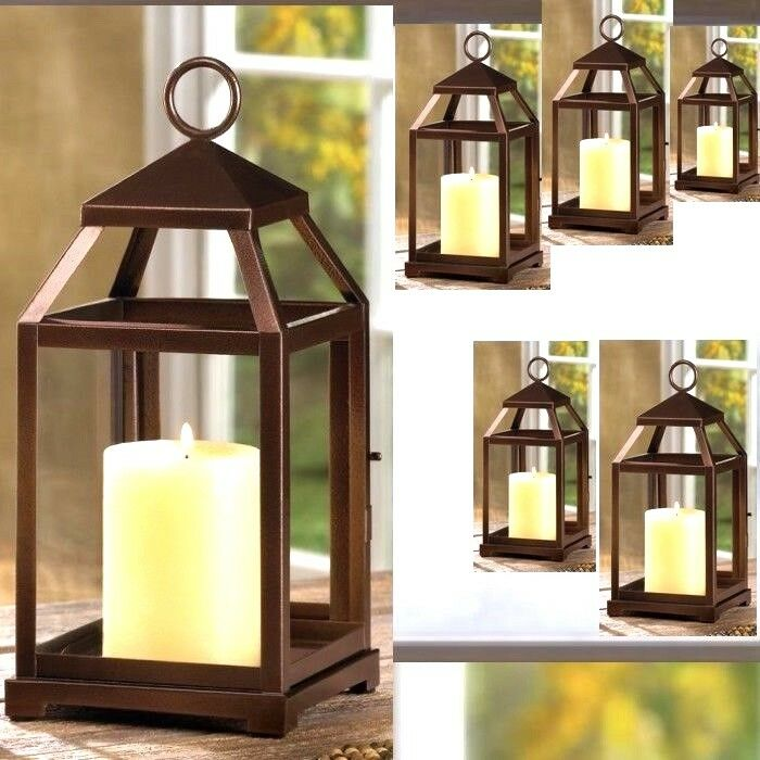 6 Bronze Color Lantern Candle Holder Wedding Centerpieces