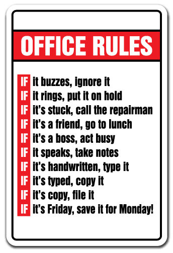 Office Rules Novelty Sign Gift Boss Monday Friday Employee