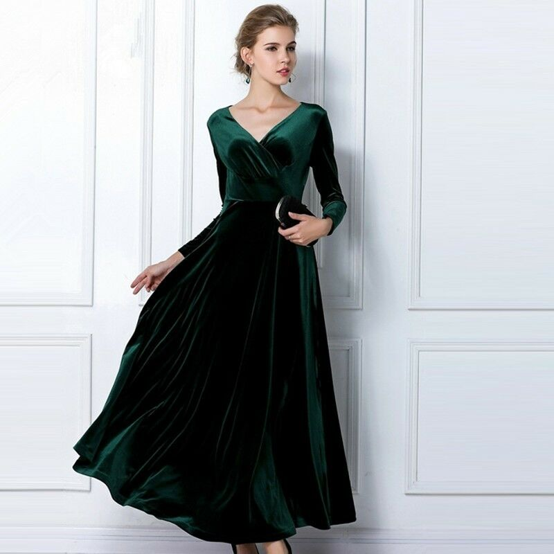 Emerald Long Velvet Party Formal Evening Maxi Dress Gown  eBay