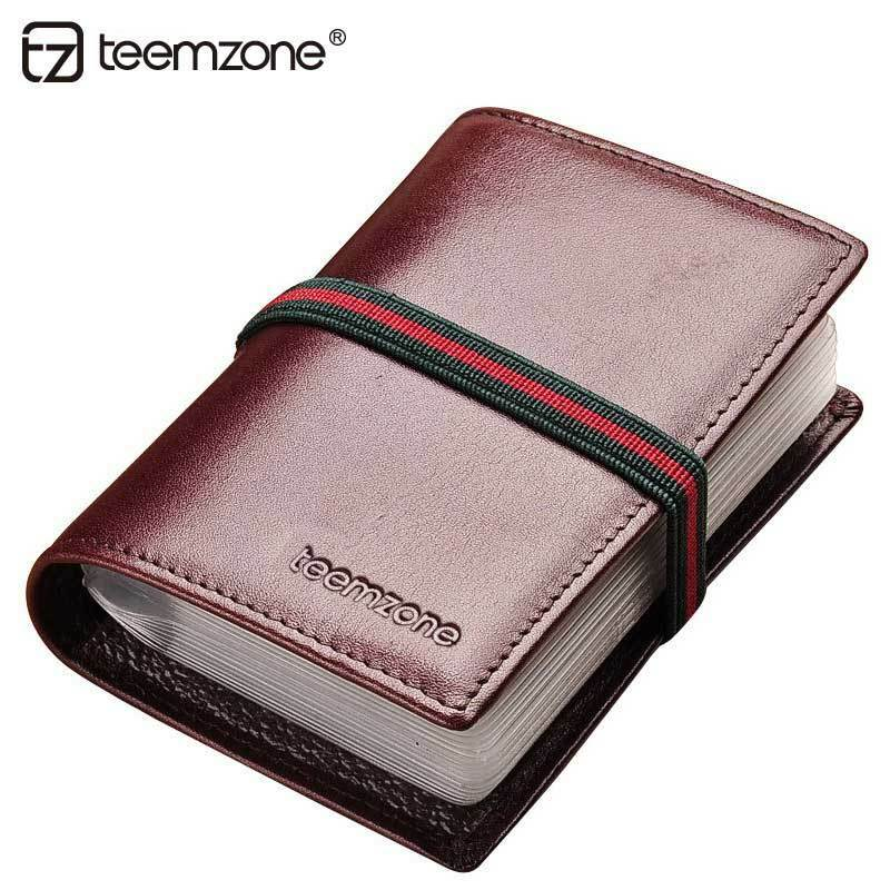 Women genuine leather rfid business bank card storage for Womens business card case
