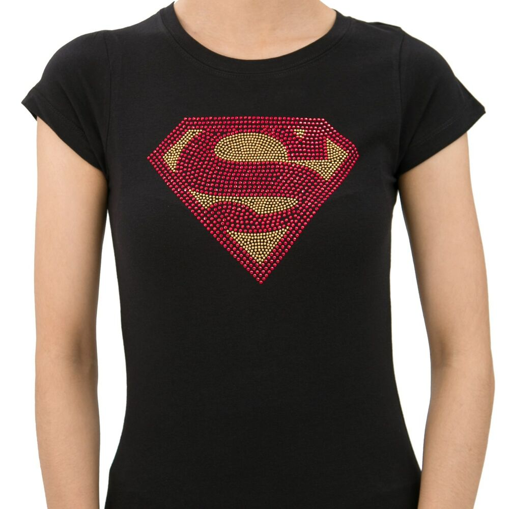 SEXY SUPERMAN Handmade Rhinestone T-Shirts for Women super hero bling ...