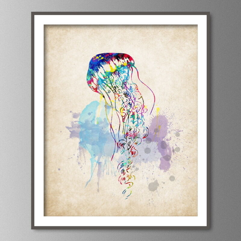 jellyfish watercolor wall art print nautical sea life popular home decor jellyfish buy cheap home decor
