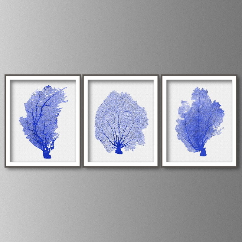 Blue Print Wall Decor : Coral print wall art in cobalt blue set of