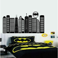 Gotham City Silhouette with Batman Symbal ~ Wall or Window Decal