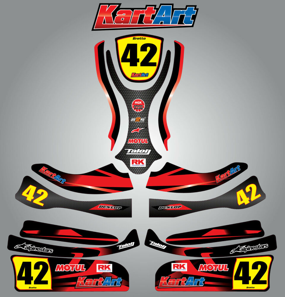 Details about arrow ax9 junior full custom kart art sticker kit thunder style graphics