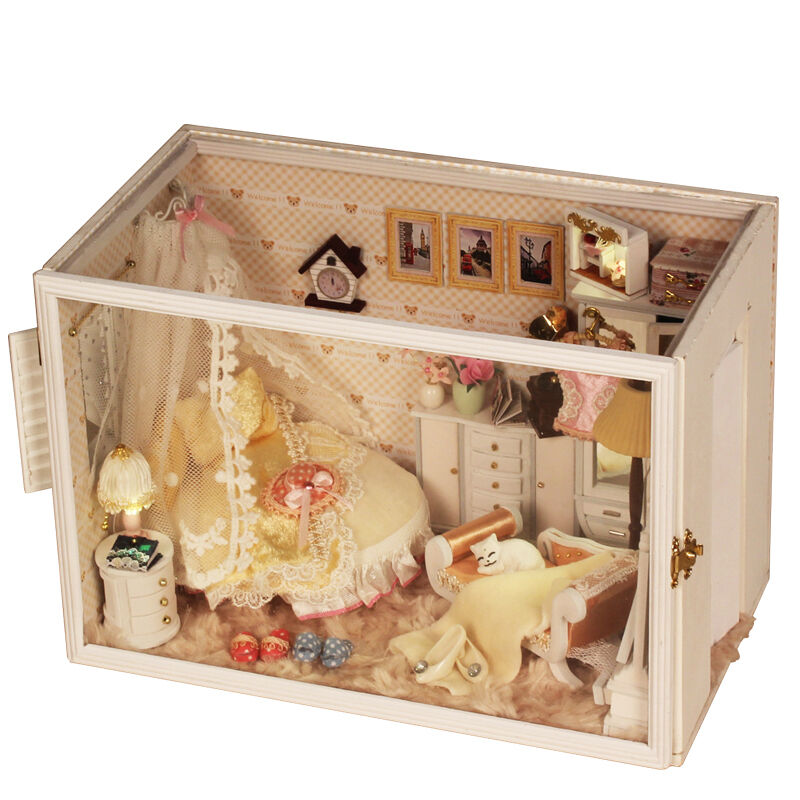 Diy Wooden Dolls House Miniature Kit W Led Light