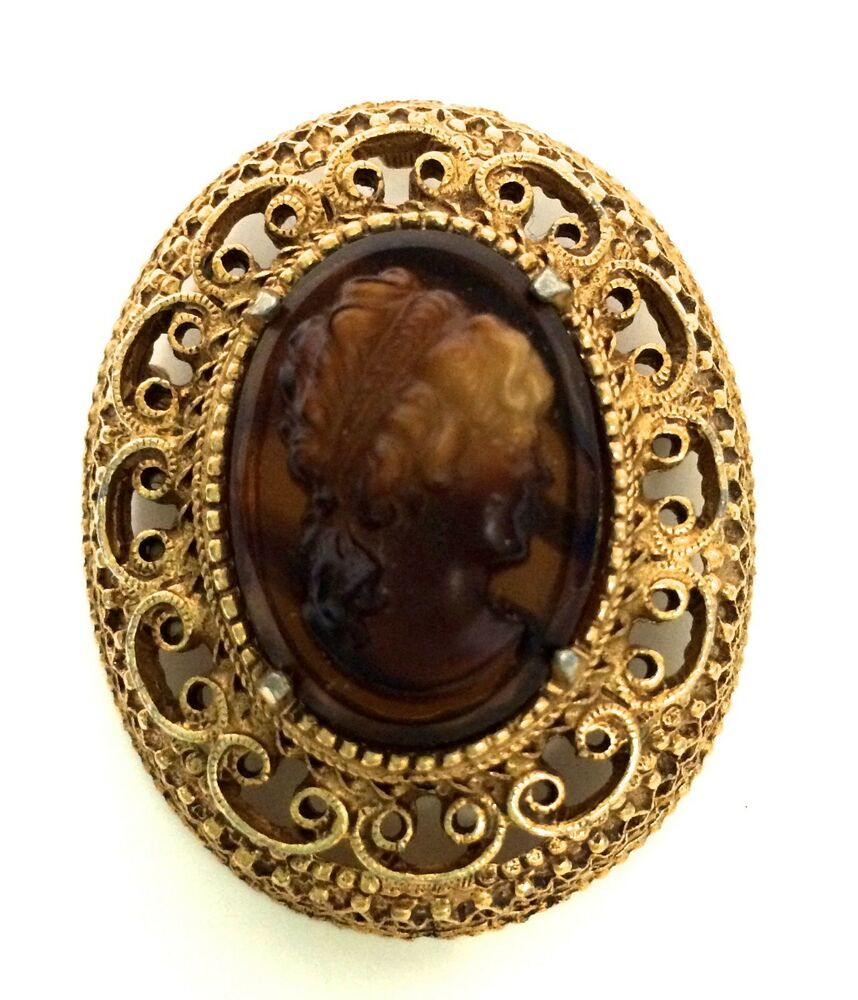 Vintage Florenza Amber Brown Cameo Costume Brooch Pin Gold