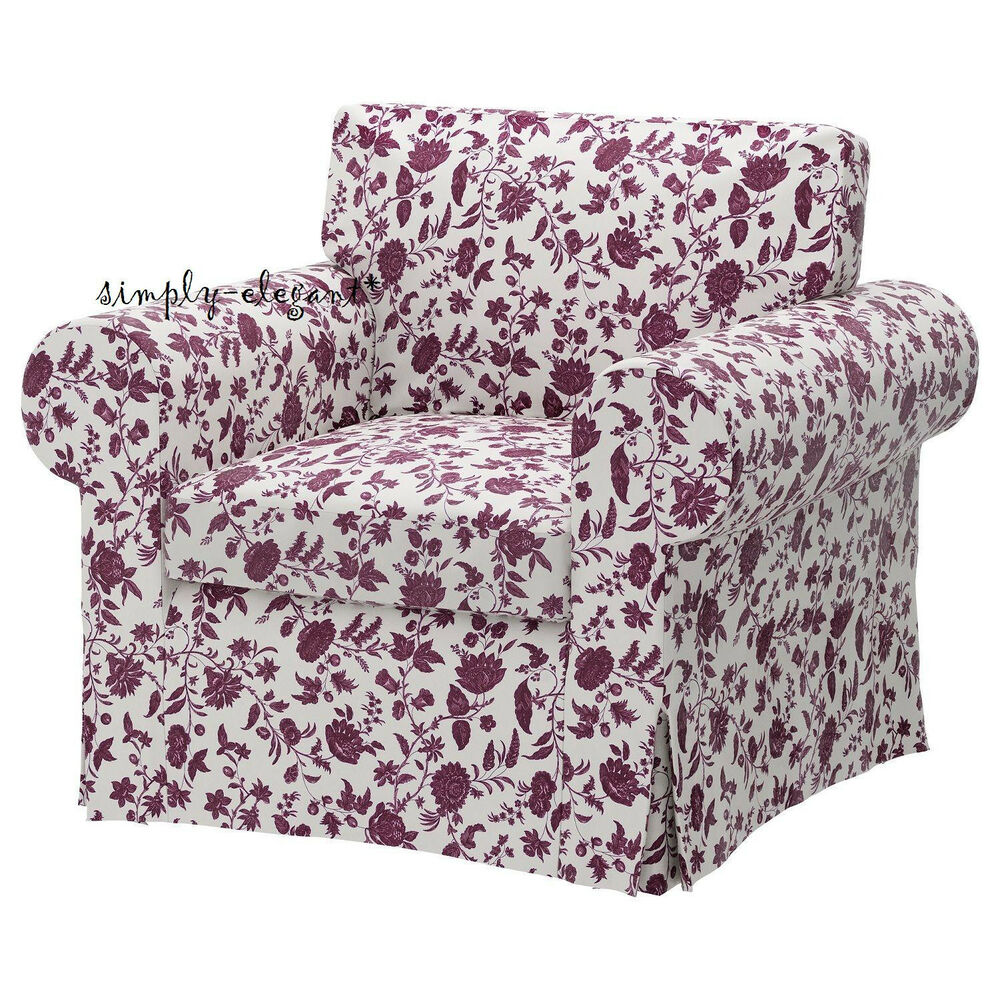 Ikea Cover For Ikea Ektorp Chair Floral Hovby Lilac Purple Slipcover